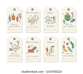 Vector linear design Christmas greetings elements on white background. Christmas tags set with typography and colorful icon