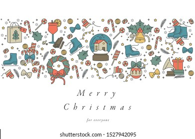 Vector linear design for Christmas greetings card colorful. Typography and icon for Xmas background, banners or posters and other printables. Winter holidays design elements