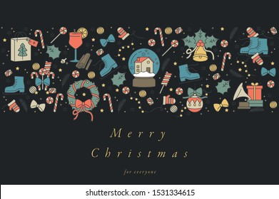 Vector linear design for Christmas greetings card colorful color. Typography and icon for Xmas background, banners or posters and other printables. Winter holidays design elements