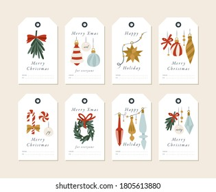 Vector linear design Christmas greetings elements on white background. Christmas tags or labels set with typography and colorful icon