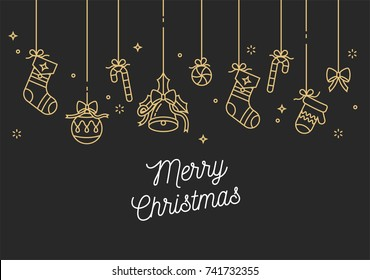 Vector linear design Christmas greetings card on golden color. Typography ang icon for Xmas background, banners or posters and other printables. Winter holidays design elements