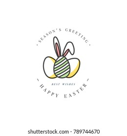 Vector linear design Easter greetings elements on white background. Typography ang icon for Happy Easter card, banners or posters and other printables. Spring holidays design elements