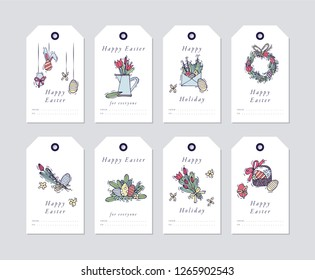 Vector linear design Happy Easter greetings elements on white background. Spring holiday tags set with typography and colorful icon