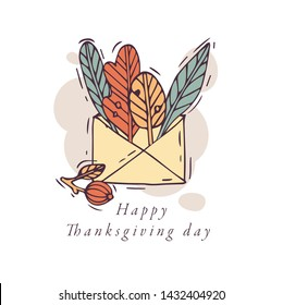 Vector linear design Harvest festival greetings card. Typography ang icon for autumn holiday background, banners or posters and other printables