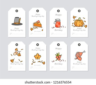 Vector linear design Thanksgiving day greetings card. Thanksgiving holiday tags set with typography and colorful icon