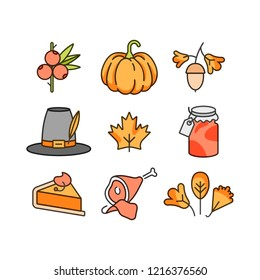 Vector linear design Thanksgiving day. Icons and signs for autumn holiday background, banners or posters and other printables