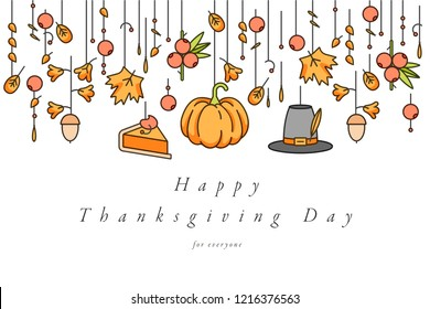 Vector linear design Thanksgiving day greetings card. Typography ang icon for autumn holiday background, banners or posters and other printables