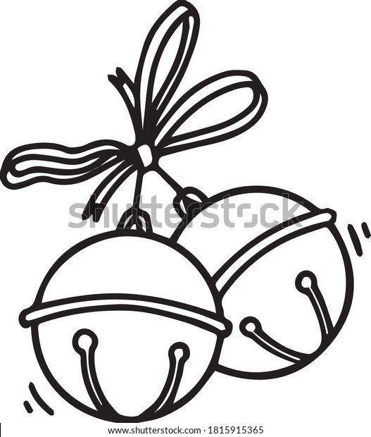 Vector linear drawing of Christmas bells with ribbon on a white background in cartoon style. Coloring book page for adults and children hand drawn