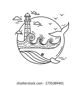 Vector linear drawing of a sea landscape. Children's coloring marine theme with a whale and a lighthouse. Seagulls fly over the ocean. Whale in the port. Sea mandala, antistress pattern.