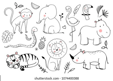 Vector linear drawing, set of cute children's illustrations African animals, monkey, elephant, tiger and lion, rhinoceros, snake, hippopotamus, flamingo bird and toucan, tropical leaves, pineapple and