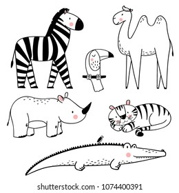 Vector linear drawing, set of cute children's illustrations of African animals, cute crocodile with bird, tiger, toucan, rhinoceros, zebra and camel. Set of isolated objects