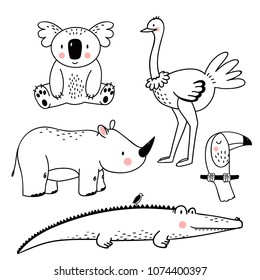 Vector linear drawing, set of cute children's illustrations african animals, koala, rhinoceros, crocodile, ostrich bird and toucan, set of isolated objects