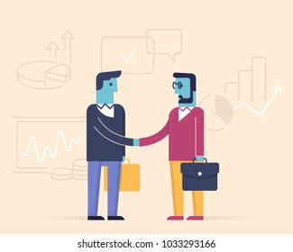 Vector linear flat illustration related to business partnership, interaction, meeting, negotiation and stakeholders. Infographics illustration - part 1