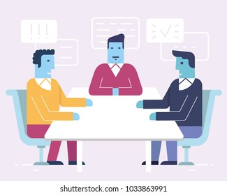 Vector linear flat illustration related to business partnership, stakeholders, workgroup, discussion and human resource management. Infographics illustration - part 4