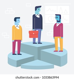 Vector linear flat illustration related to business partnership, interaction and shareholders. Infographics illustration