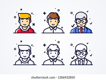 vector linear flat people faces icon set. Social media avatar, user pic and profil. user experience concept different male smiley emoticons emoji.