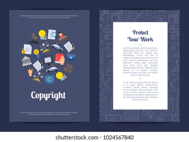 Vector linear and flat style copyright elements card or flyer template illustration