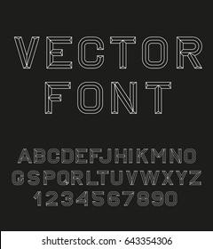 Vector linear font. 80's retro alphabet font.  Alphabet black and white lines. Vector illustration 10