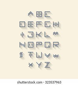 Vector linear font - simple alphabet in mono line style - typography design elements.Thin line iconographic flat letters with long shadow. Hipster modern font.