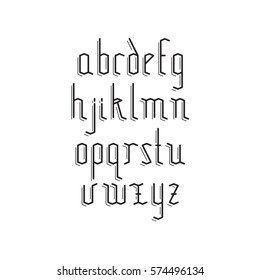 Vector linear font - simple alphabet in mono line style. Old style antique Gothic Font. Minimal. Latin letters set. Simple stylized mono line goth font, typeface, typography, typewriter.