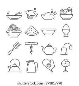 vector linear food and drink icons