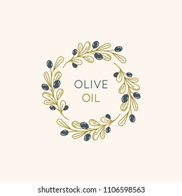 Vector linear frame and badge design for packaging for olive oil products, natural and organic cosmetics and beauty products - abstract logo template with copy space for text and leaves
