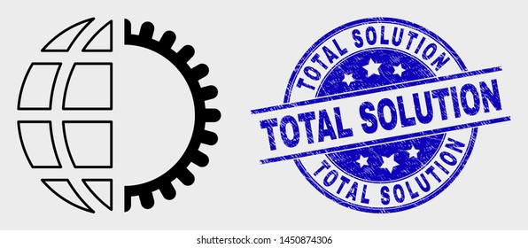 Vector linear global service icon and Total Solution stamp. Blue rounded textured watermark with Total Solution phrase. Black isolated global service icon in outline style.
