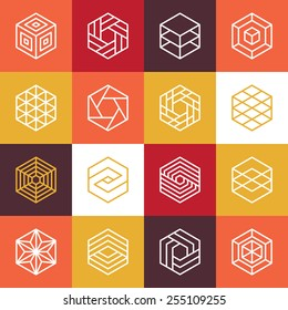 Vector linear hexagon logos and design elements - abstract icons for different business and technologies
