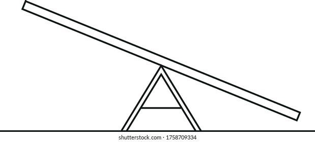 Vector linear icon of seesaw - for dog agility training or children playground, isolated on white background