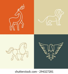 Vector linear icons and logo design elements - horse, lion, deer and eagle