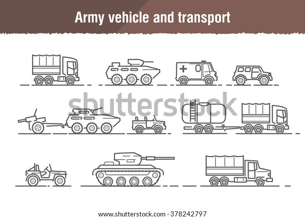 Vector linear icons of military and army transport and weapons