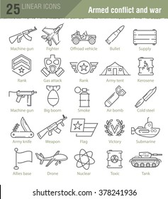 Vector linear icons for military infographics, mobile games UI kit and print design.