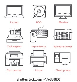Vector linear icons set. Electronic devices, computers, business and banking equipment, finance and market tools.