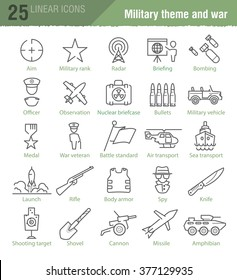 Vector linear icons set for military infographics, TV news design and mobile UI