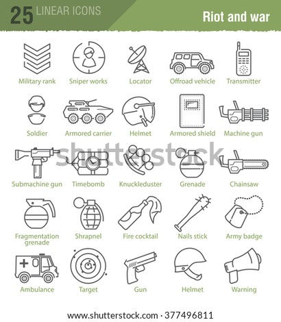 Vector linear icons set for military infographics, web design, TV news and mobile game UI