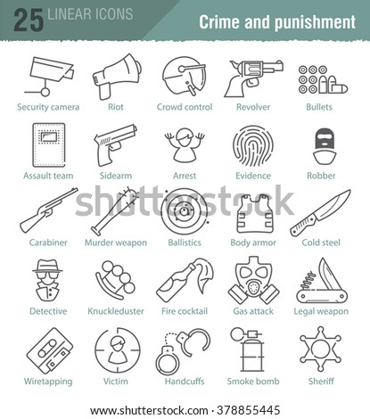 Vector linear icons set for police infographic, mobile game UX design and print
