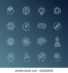 Vector linear icons and sign related to human mind, personal growth, mental health, idea generating and thinking - set of abstract concepts and logo design elements in mono line style