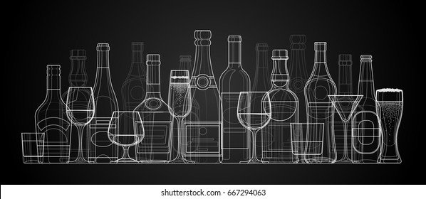 Vector linear illustration of bottles and glasses of alcohol. Alcohol drinks dark background.