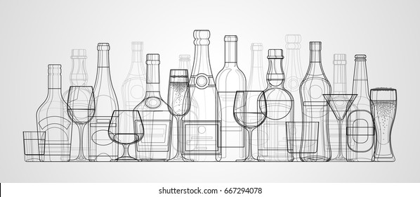 Vector linear illustration of bottles and glasses of alcohol. Alcohol drinks white background.