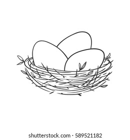 Vector linear illustration with eggs in the nest isolated on white.