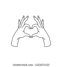 Vector linear illustration of female hands show heart silhouette. Heart shape. Concept illustration