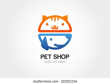 Vector linear illustration of funny muzzle of cat and dog. Logo icon design template. Abstract concept for pet shop or veterinary.