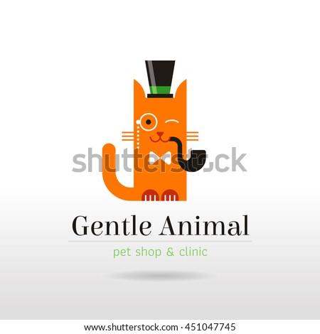 vector linear illustration funny vintage cat stock vector royalty