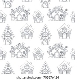 Vector linear illustration of gingerbread Christmas house, doodle sketch, simple pattern