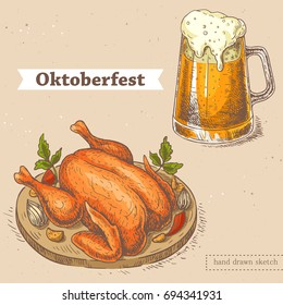 Vector linear illustration of glass of beer, roasted chicken on plate with vegetables. Hand drawn color set with sketch of oktoberfest food. Image in vintage style with abstract paper background.
