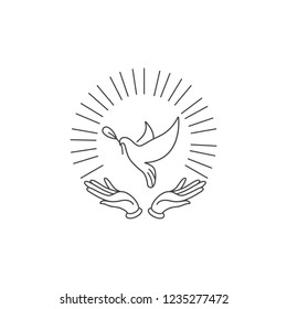 Vector linear illustration hands with dove holding olive branch. Symbol of peace on earth