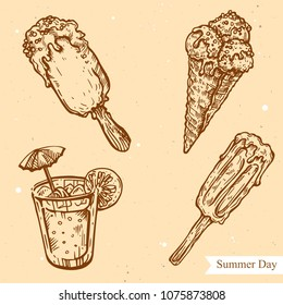 Vector linear illustration of  ice-cream set, coktail isolated on paper background with abstract texture. Hand drawn sketch in retro style of ice-cream. Image in vintage style for design.