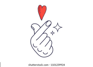 Vector linear illustration: K-Pop and K-Drama Love Finger Hand symbol. Saranghae Korean gesture sign.