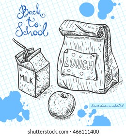 Vector linear illustration of the school lunch on the textured paper sheet in cell. Hand drawn sketch of the bag with food, apple and milk with handwritten text Back To School and ink blots.