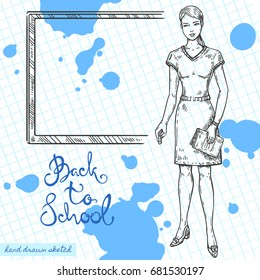 Vector linear illustration of school teacher with chalk and book on textured paper background. Hand drawn sketch of woman teacher with desk, handwritten text Back to School, ink blots.